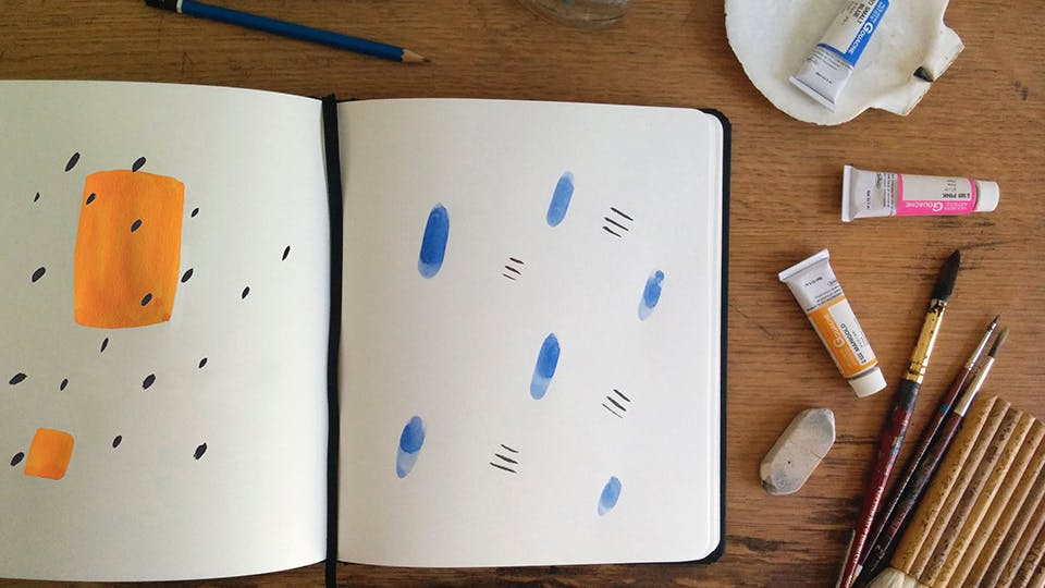 Start By Putting A Few Large Solid Color Shapes Down On Your Sheet Of Paper With Gouache