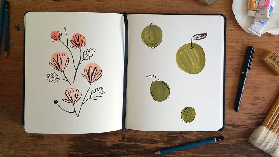 Start By Painting A Bunch Of Circles Varying In Size But Not Color On Your Page With Gouache Let Them Dry And Then Black Brush Tip Pen Add