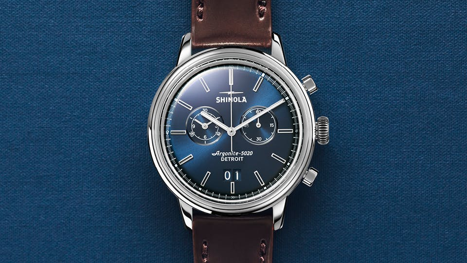 3c91aba1e The Bedrock Chrono was named after our parent company and is the first  dress watch to come out of our Detroit factory. Only the most essential  details were ...